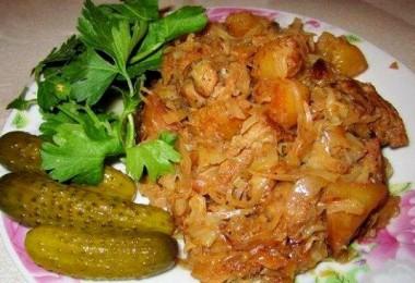 свинина с капустой и картофелем