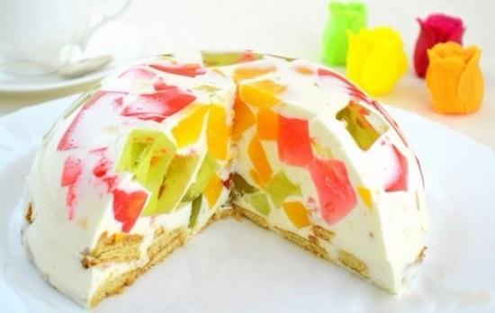 Торт желейный со сметаной без выпечки