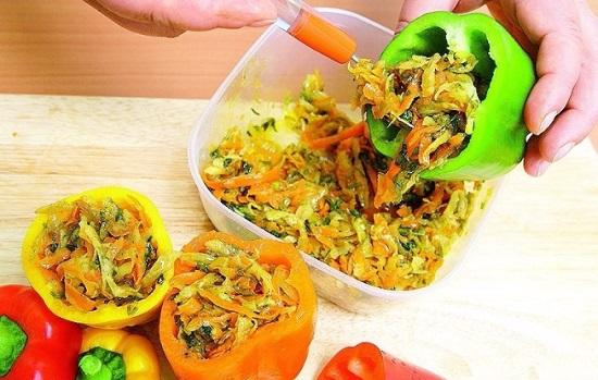 Фаршируем овощами перцы