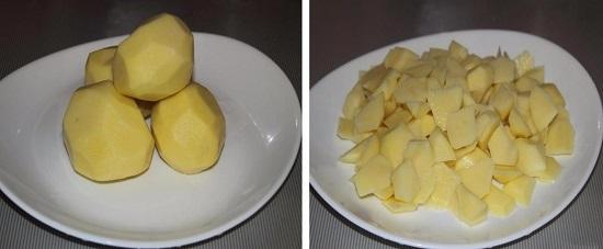 Картофель очистим, промоем и нарежем