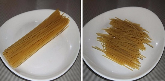 Спагетти разломим на две-три части