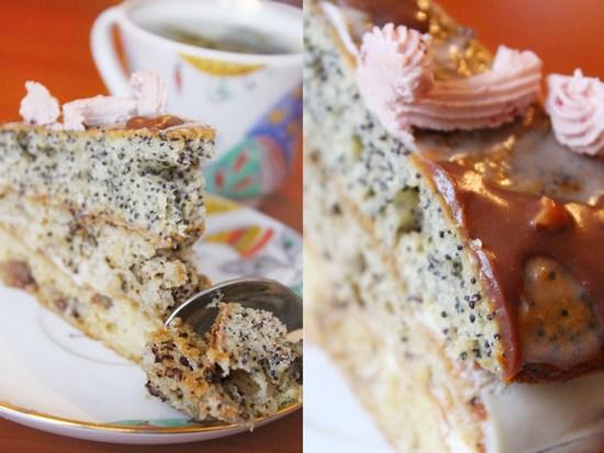 Простой торт с маком и орехами