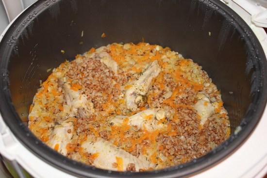 риготовление гречневой каши с мясом в мультиварке
