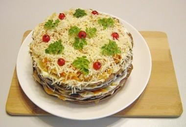Печеночный торт из куриной печени: рецепты простые с фото