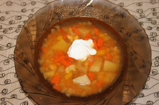 овощной суп в мультиварке-скороварке с добавлением чечевицы