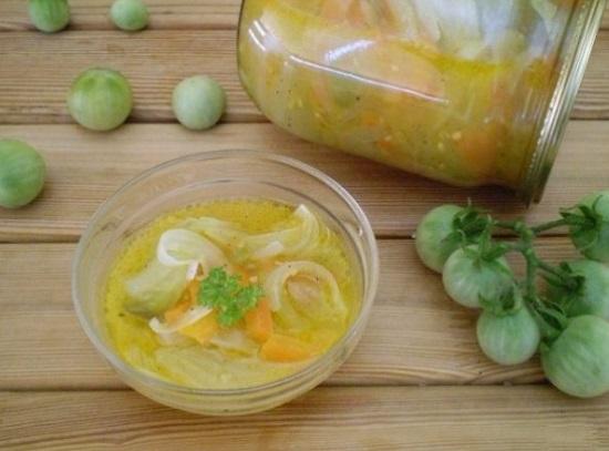 Интересный рецепт салата из зеленых помидоров