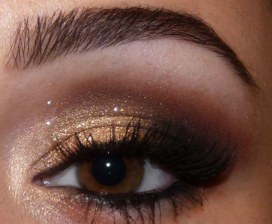 золотистые тени для карих глаз