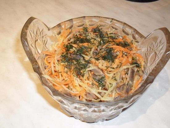Салат с куриными желудками: рецепт