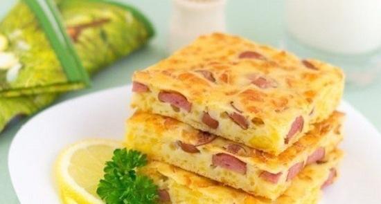 Пирог с сосисками на кефире