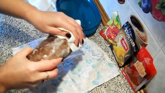 Излишки влаги убираем бумажными полотенцами