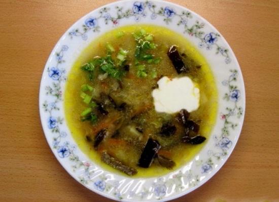 грибной суп с перловкой из замороженных грибов
