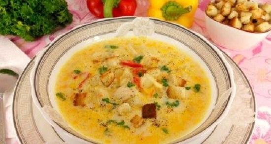 Сырный суп с плавленым сыром в мультиварке
