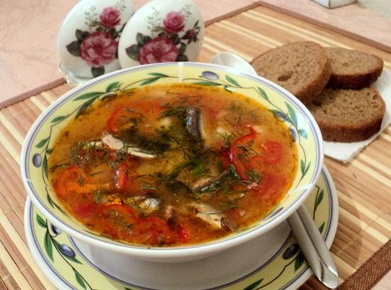 суп из кильки в томате с рисом