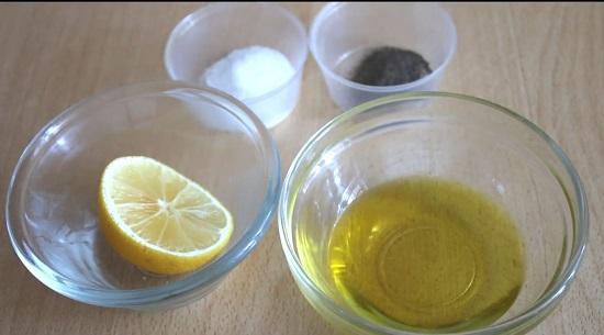 оливковое рафинированное масло, лимон, соль