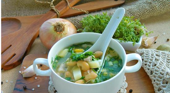 Суп фасолевый из консервированной фасоли с курицей