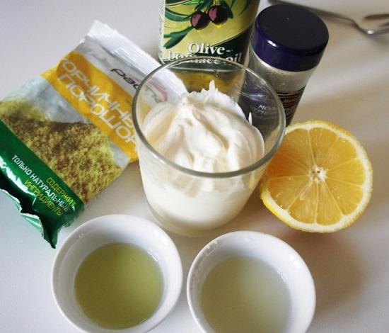 ингредиенты для приготовления салатной заправки