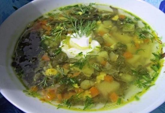 Суп из ревеня с яйцом