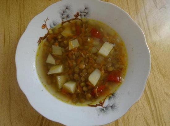 вкусный суп из зеленой чечевицы