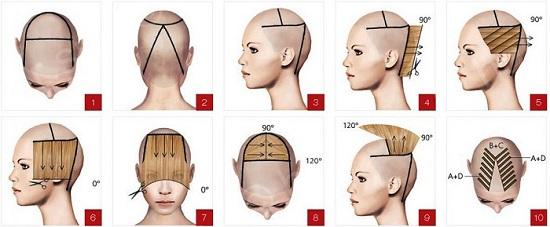 Схема стрижки «Шапочка» на короткие волосы