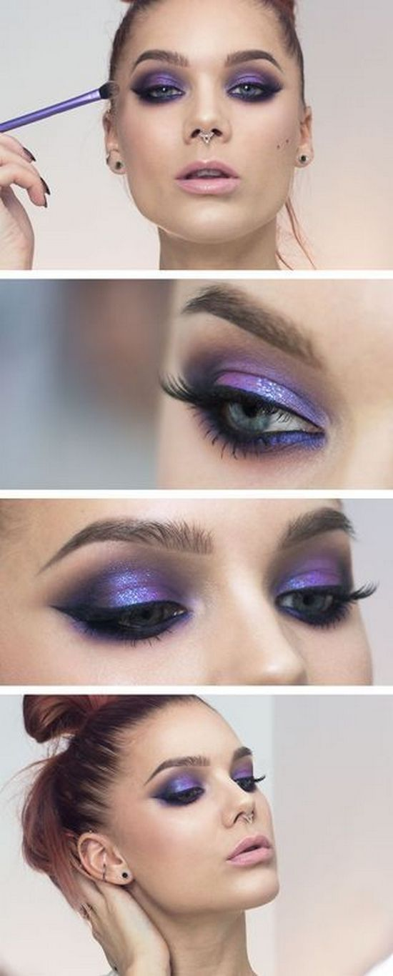 макияж для серых глаз с фиолетовыми тенями