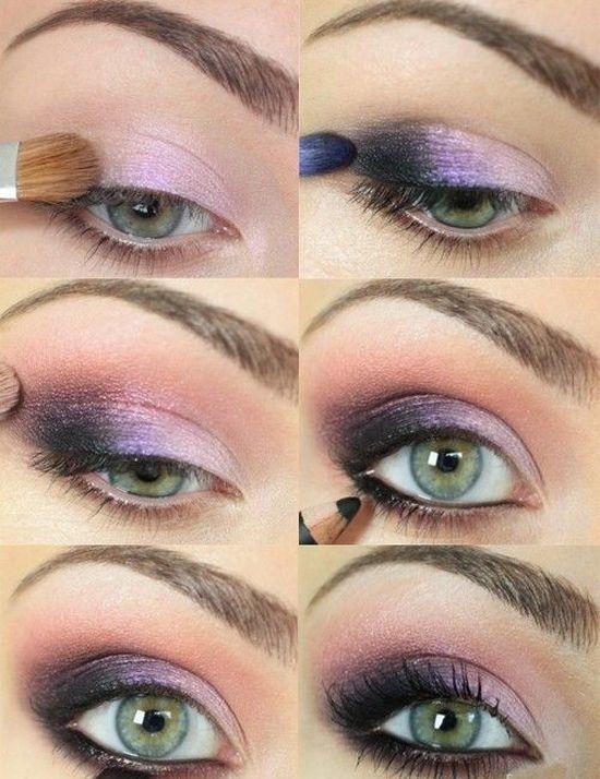 розовые тени для зеленых глаз
