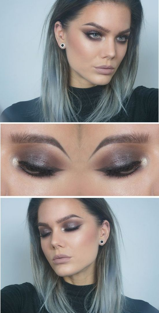 Красивый дневной и вечерний макияж для серо-зеленых глаз