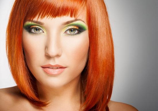 макияж для рыжих тени