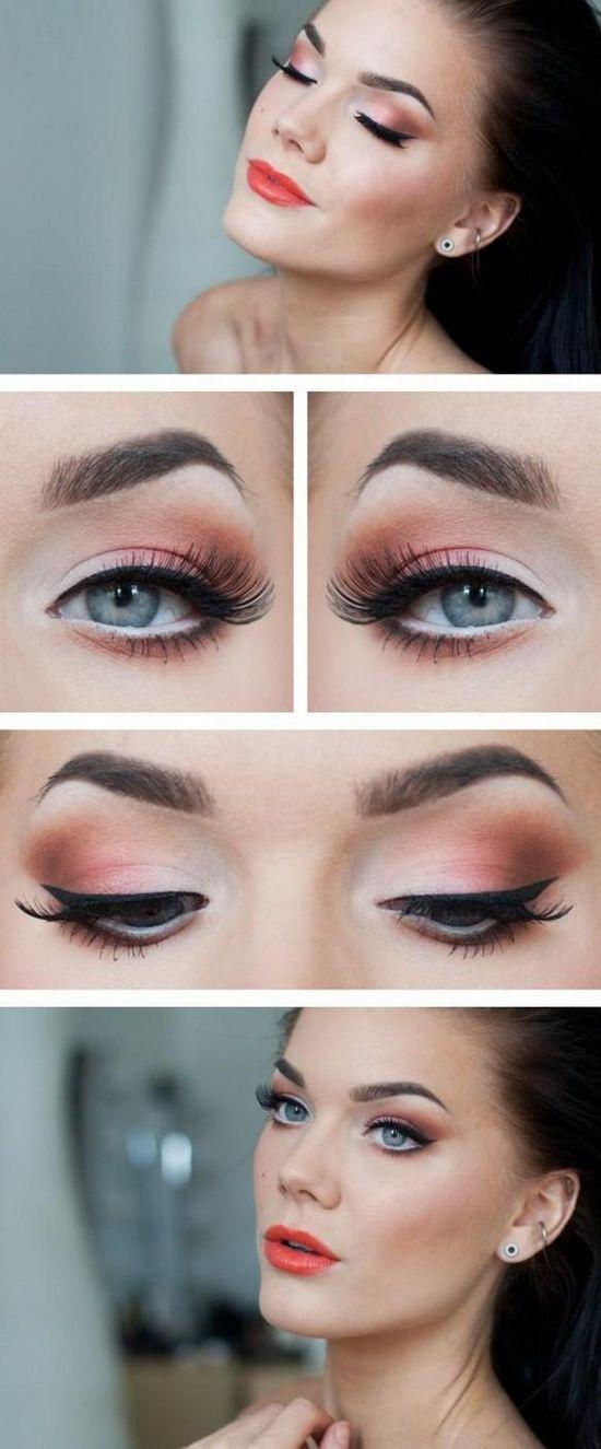 макияж для серях глаз с розовыми тенями
