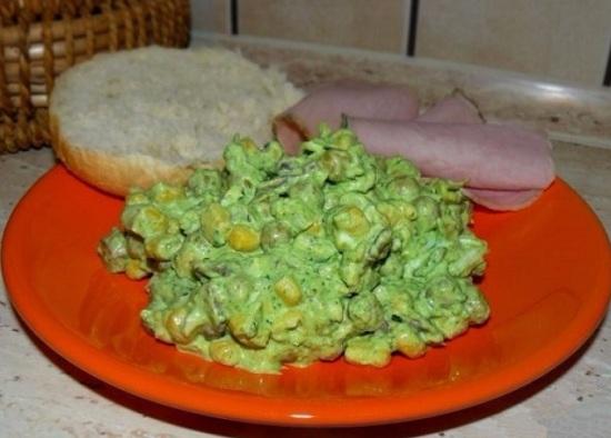 Салат с жареными шампиньонами и курицей