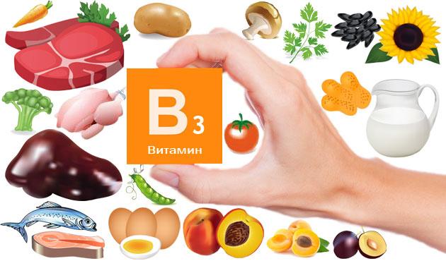 В каких продуктах и в какой концентрации содержится витамин B 3 – список