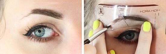 Как сделать макияж бровей с трафаретом?