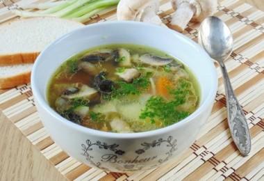 грибной суп, приготовленный на курином бульоне