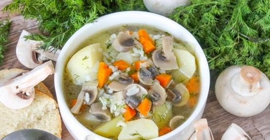 Куриный суп с белыми грибами