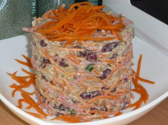 салат с фасолью, грибами и морковью по-корейски