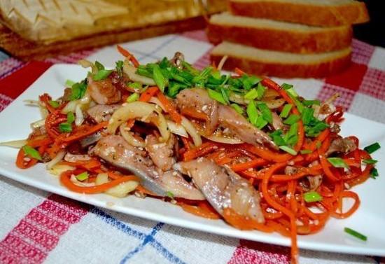 Салат Хе из рыбы с морковью: рецепты