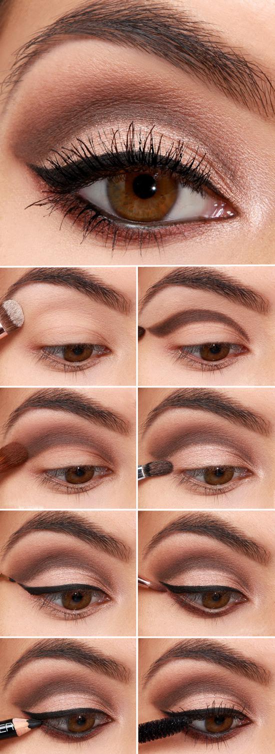 Градиентный макияж для карих глаз и темных волос