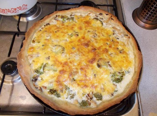 Лоранский пирог с курицей и грибами, брокколи: рецепты